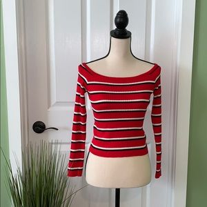 Kendall + Kylie / Sweater / Red / Off the Shoulder